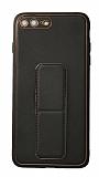 Eiroo Color Stand iPhone 7 Plus / 8 Plus Siyah Silikon Kılıf