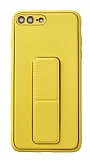 Eiroo Color Stand iPhone 7 Plus / 8 Plus Sarı Silikon Kılıf
