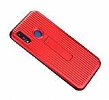 Eiroo Craft View Huawei P Smart Standlı Kırmızı Rubber Kılıf
