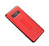 Eiroo Craft View Samsung Galaxy Note 8 Standlı Kırmızı Rubber Kılıf