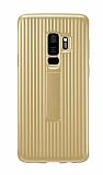 Eiroo Craft View Samsung Galaxy S9 Plus Standlı Gold Rubber Kılıf