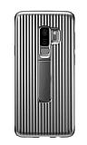 Eiroo Craft View Samsung Galaxy S9 Standlı Silver Rubber Kılıf