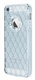 Eiroo Dashy iPhone 5 / 5S Silver Ta�l� �effaf Silikon K�l�f