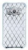 Eiroo Dashy Samsung Galaxy J1 Ace Silver Taşlı Şeffaf Silikon Kılıf