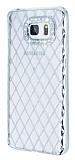 Eiroo Dashy Samsung Galaxy Note 5 Silver Taşlı Şeffaf Silikon Kılıf