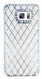Eiroo Dashy Samsung Galaxy S6 Edge Plus Silver Taşlı Şeffaf Silikon Kılıf