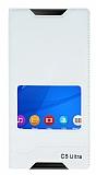 Sony Xperia C5 Ultra Gizli Mıknatıslı Pencereli Beyaz Deri Kılıf