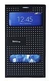 Dot Face Samsung Galaxy Note Edge Gizli Mıknatıslı Pencereli Siyah Deri Kılıf