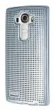 Eiroo Dotted LG G4 Deri Kaplamalı Silver Rubber Kılıf