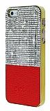 Eiroo Duxal iPhone SE / 5 / 5S Gold Kenarlı Taşlı Kırmızı Rubber Kılıf