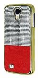 Eiroo Duxal Samsung i9500 Galaxy S4 Gold Kenarlı Taşlı Kırmızı Rubber Kılıf