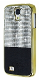 Eiroo Duxal Samsung i9500 Galaxy S4 Gold Kenarlı Taşlı Siyah Rubber Kılıf