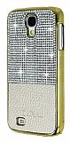 Eiroo Duxal Samsung i9500 Galaxy S4 Gold Kenarl� Ta�l� Krem Rubber K�l�f