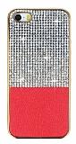 Eiroo Duxal iPhone SE / 5 / 5S Gold Kenarlı Taşlı Kırmızı Silikon Kılıf