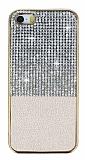 Eiroo Duxal iPhone SE / 5 / 5S Gold Kenarl� Ta�l� Gold Silikon K�l�f
