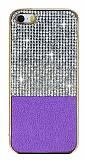 Eiroo Duxal iPhone SE / 5 / 5S Gold Kenarl� Ta�l� Mor Silikon K�l�f