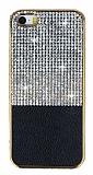Eiroo Duxal iPhone SE / 5 / 5S Gold Kenarl� Ta�l� Siyah Silikon K�l�f