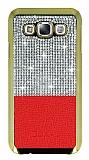Eiroo Duxal Samsung Galaxy E7 Gold Kenarlı Taşlı Kırmızı Rubber Kılıf