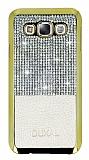 Eiroo Duxal Samsung Galaxy E7 Gold Kenarlı Taşlı Krem Rubber Kılıf