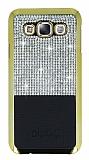 Eiroo Duxal Samsung Galaxy E7 Gold Kenarlı Taşlı Siyah Rubber Kılıf