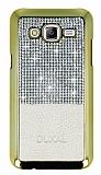 Eiroo Duxal Samsung Galaxy J5 Gold Kenarlı Taşlı Krem Rubber Kılıf