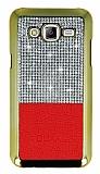 Eiroo Duxal Samsung Galaxy J5 Gold Kenarl� Ta�l� K�rm�z� Rubber K�l�f