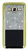 Eiroo Duxal Samsung Galaxy J7 / Galaxy J7 Core Gold Kenarlı Taşlı Siyah Rubber Kılıf