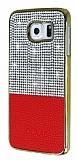 Eiroo Duxal Samsung i9800 Galaxy S6 Gold Kenarlı Taşlı Kırmızı Rubber Kılıf