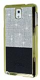 Eiroo Duxal Samsung N9000 Galaxy Note 3 Gold Kenarlı Taşlı Siyah Rubber Kılıf