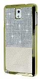 Eiroo Duxal Samsung N9000 Galaxy Note 3 Gold Kenarlı Taşlı Krem Rubber Kılıf