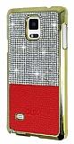 Eiroo Duxal Samsung N9100 Galaxy Note 4 Gold Kenarl� Ta�l� K�rm�z� Rubber K�l�f