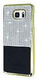 Eiroo Duxal Samsung Galaxy Note 5 Gold Kenarlı Taşlı Siyah Rubber Kılıf