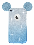 Eiroo Ear Sheenful iPhone 4 / 4S Mavi Silikon Kılıf
