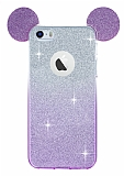 Eiroo Ear Sheenful iPhone SE / 5 / 5S Mor Silikon K�l�f