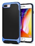 Eiroo Efficient iPhone 7 Plus / 8 Plus Mavi Kenarlı Ultra Koruma Kılıf