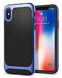 Eiroo Efficient iPhone X Mavi Kenarlı Ultra Koruma Kılıf