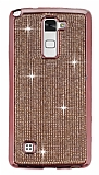 Eiroo LG Stylus 2 / Stylus 2 Plus Taşlı Rose Gold Silikon Kılıf