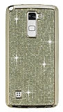 Eiroo LG Stylus 2 / Stylus 2 Plus Taşlı Gold Silikon Kılıf