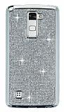 Eiroo LG Stylus 2 / Stylus 2 Plus Taşlı Silver Silikon Kılıf