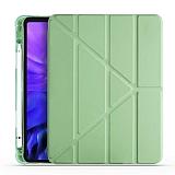 Eiroo Fold Samsung Galaxy Tab S7 Plus T970 Kalemlikli Standlı Açık Yeşil Kılıf