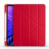 Eiroo Fold Samsung Galaxy Tab S7 Plus T970 Kalemlikli Standlı Kırmızı Kılıf