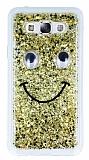Eiroo Funny Face Samsung Galaxy E7 Işıltılı Şeffaf Rubber Kılıf