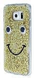 Eiroo Funny Face Samsung Galaxy S6 edge Işıltılı Gold Rubber Kılıf