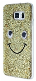 Eiroo Funny Face Samsung Galaxy S6 Edge Plus Işıltılı Gold Rubber Kılıf