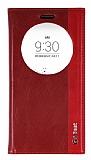 LG G4 Beat Gizli Mıknatıslı Pencereli Kırmızı Deri Kılıf