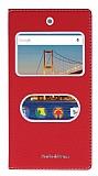 General Mobile Android One / General Mobile GM 5 Gizli Mıknatıslı Çift Çerçeveli Kırmızı Deri Kılıf
