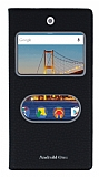 General Mobile Android One / General Mobile GM 5 Gizli Mıknatıslı Çift Çerçeveli Siyah Deri Kılıf