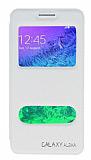 Eiroo Samsung Galaxy Alpha Vantuzlu Pencereli Beyaz Deri Kılıf