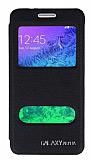Eiroo Samsung Galaxy Alpha Vantuzlu Pencereli Siyah Deri Kılıf