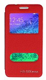 Eiroo Samsung Galaxy Alpha Vantuzlu Pencereli Kırmızı Deri Kılıf
